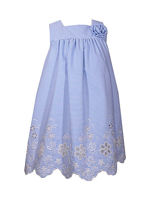 Toddler Girls Square Neck Embroidered Float Dress with Flowers