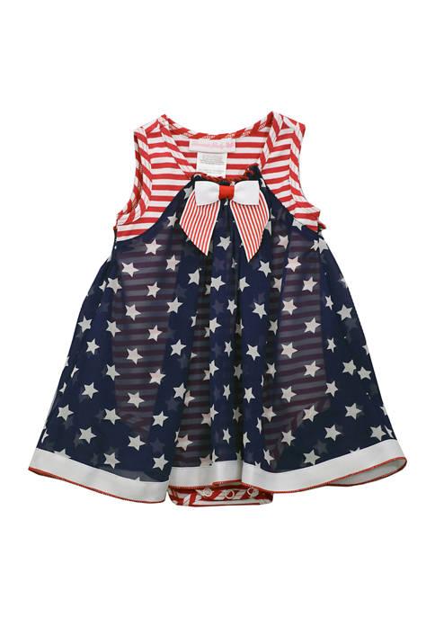 Bonnie Jean Baby Girls American Flag Printed Bubble