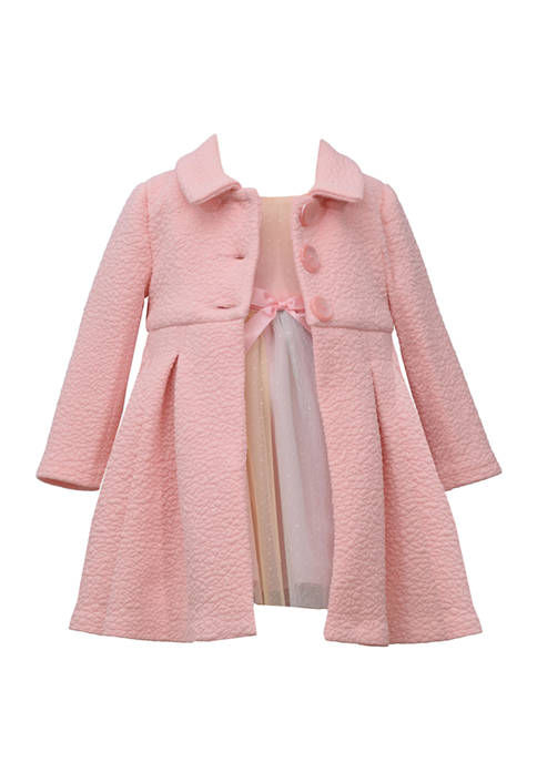 Baby Girls 2 Piece Ballerina Dress and Pink Textured Coat Set