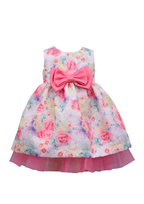 Bonnie Jean Baby Girls Floral Jacquard Empire Dress