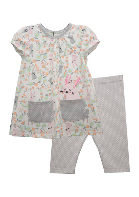 Baby Girls Short Sleeve Bunny Set