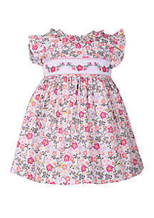Bonnie Jean Baby Girls Smocked Floral Dress with Ruffle Sleeves