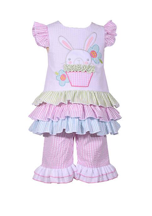 Baby Girls Seersucker Bunny  Set