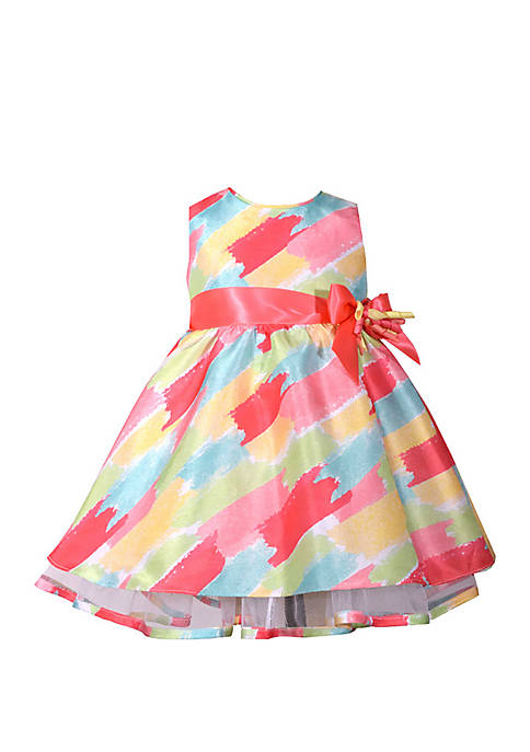Bonnie Jean Baby Girls Watercolor Shantung Dress