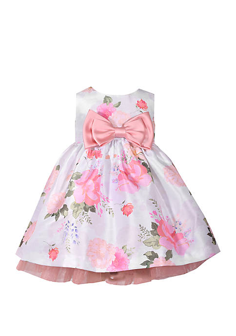 Bonnie Jean Baby Girls Floral Shantung Empire Dress