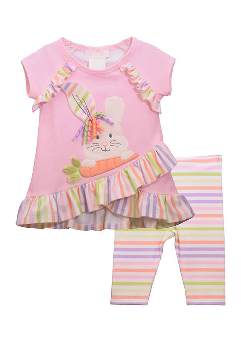 Bonnie Jean Toddler Girls Short Sleeve Bunny Legging