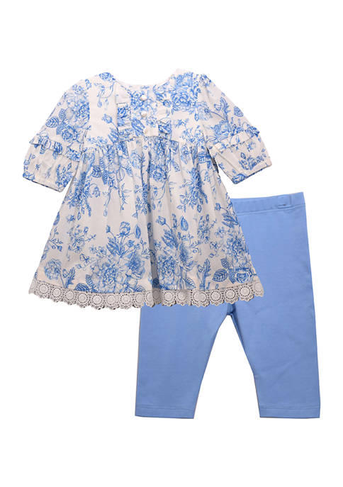 Toddler Girls Toile Print Legging Set