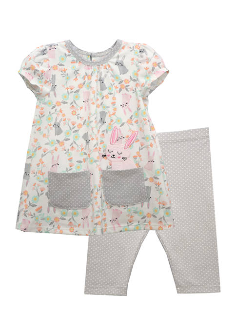 Bonnie Jean Toddler Girls Short Sleeve Bunny Print