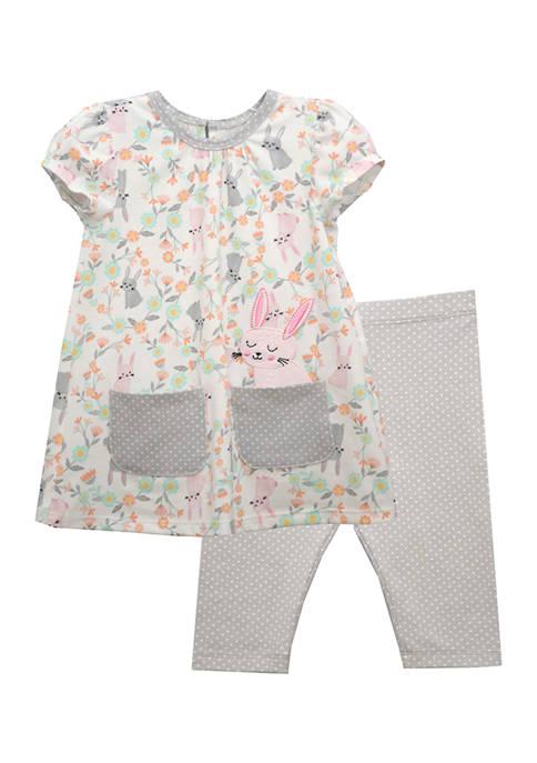 Toddler Girls Short Sleeve Bunny Print Legging Set