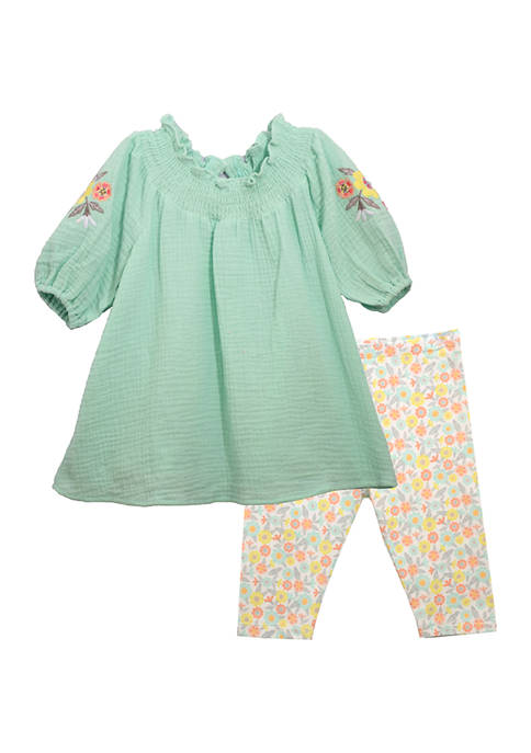 Toddler Girls Gauze Floral Embroidered Legging Set