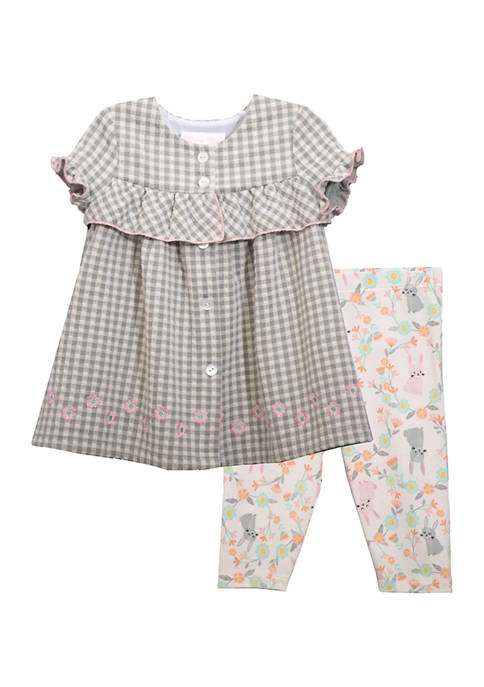 Bonnie Jean Toddler Girls Gingham Print Legging Set