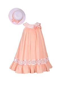 Bonnie Jean Toddler Girls Peach Clip Dot Trapeze Hat and Dress Set