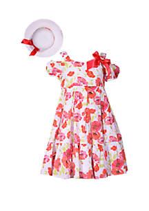 Bonnie Jean Toddler Girls Clip Dot Floral Hat and Dress Set