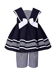 Bonnie Jean Toddler Girls Nautical Box Pleat Top with Striped Capri Set