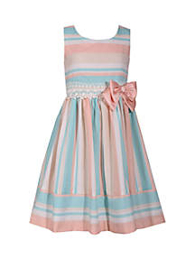 Toddler Girls Peach Stripe Linen Dress