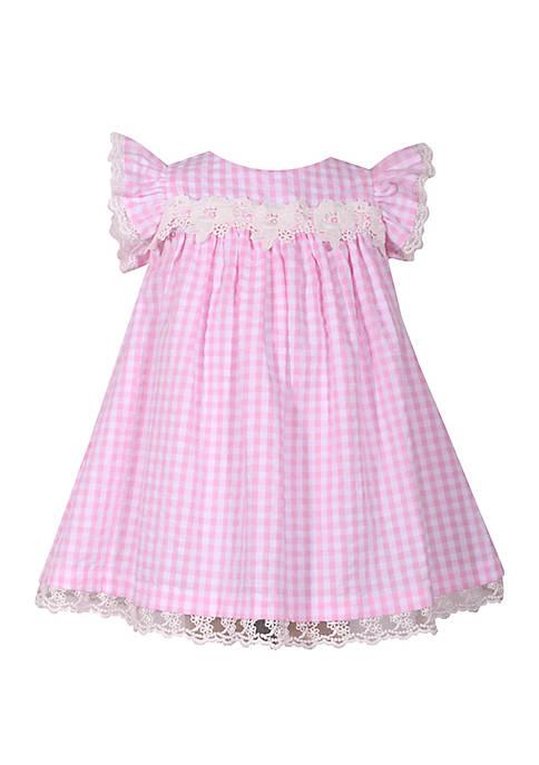 Toddler Girls Pink Checked Seersucker Float Dress