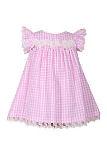 Bonnie Jean Toddler Girls Pink Checked Seersucker Float Dress
