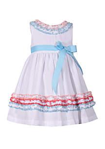 Bonnie Jean Toddler Girls Multi Color Ruching White Seersucker Dress