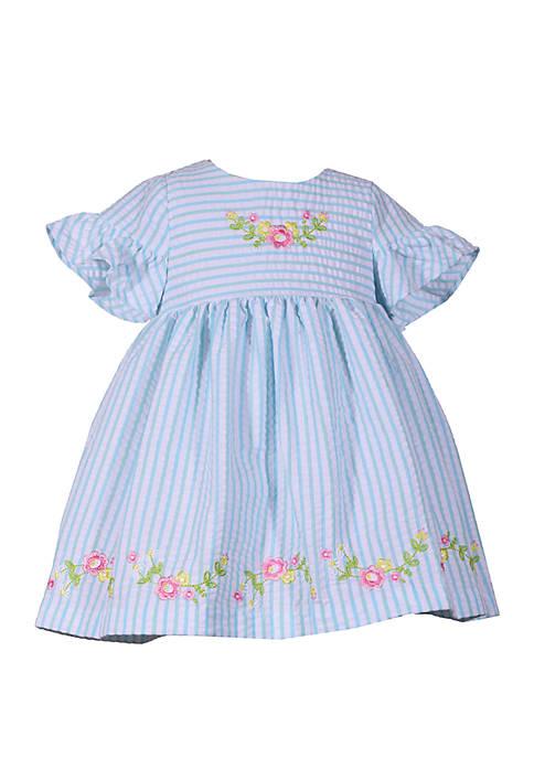 e543affe2e44 Bonnie Jean Toddler Girls Blue Seersucker Dress with Embroidery