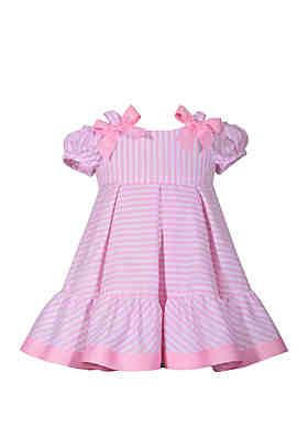 659b3dec01 Bonnie Jean Toddler Girls Cold Shoulder Pink Stripe Flounce Hem Dress ...