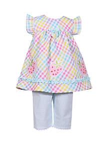 Bonnie Jean Toddler Girls Strawberry Seersucker Capri Set