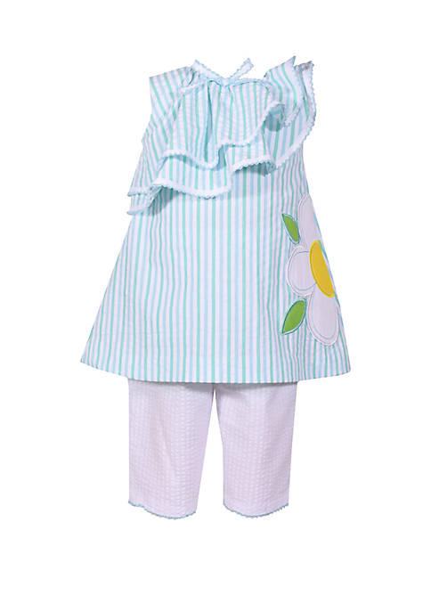 Bonnie Jean Toddler Girls Daisy Seersucker Capri Set