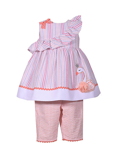 Bonnie Jean Toddler Girls Seersucker Swan Capri set