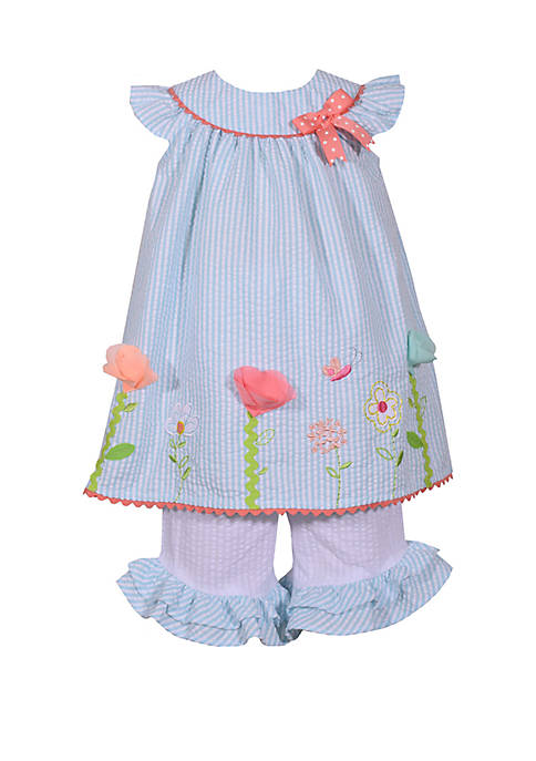 Bonnie Jean Toddler Girls Seersucker Butterfly and Flowers