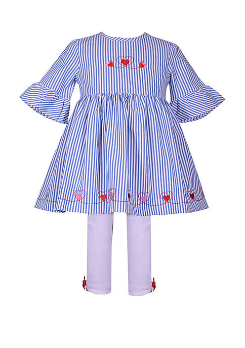 Bonnie Jean Toddler Girls Bell Sleeve Strip Heart