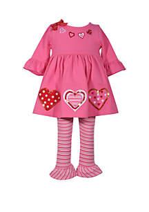 Toddler Girls Heart and Sequin Applique Legging Set