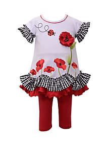 Toddler Girls Ladybug Ruffle Capri Set