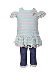 Bonnie Jean Toddler Girls Cold Shoulder Novelty Top Denim Capri Set