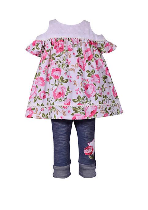 Bonnie Jean Toddler Girls Cold Shoulder Floral Denim