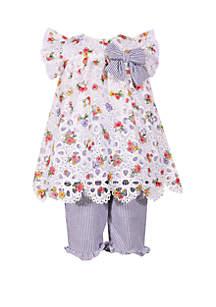 Bonnie Jean Toddler Girls Floral Eyelet Lace Capri Set