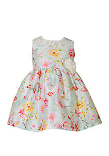 Toddler Girls Shantung Floral Dress with Lace Yoke
