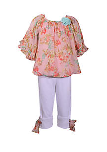 Bonnie Jean Toddler Girls Chiffon Peasant Top Capri Set