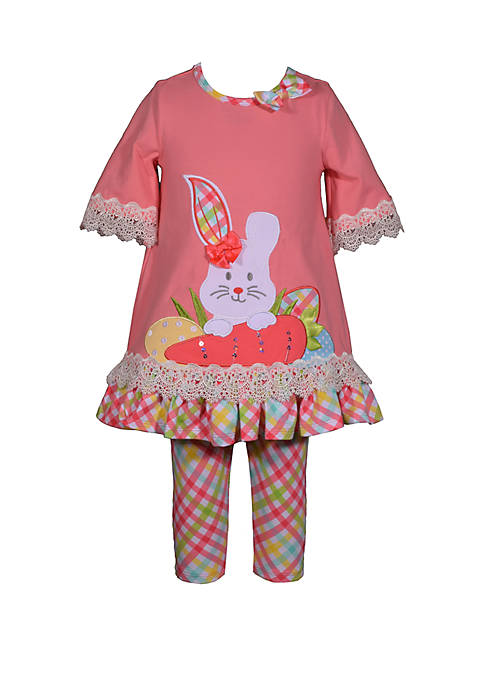 Bonnie Jean Toddler Girls Coral Plaid Easter Bunny