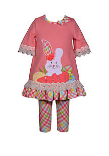 Bonnie Jean Toddler Girls Coral Plaid Easter Bunny Carrot Set