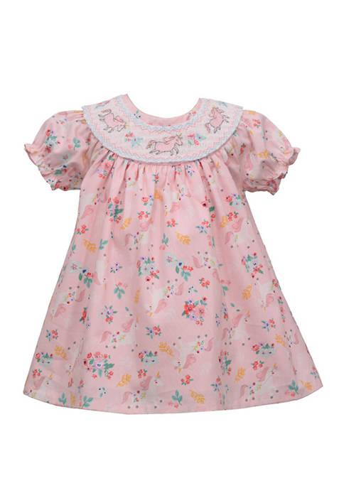 Toddler Girls Smocked Neck Unicorn Dress