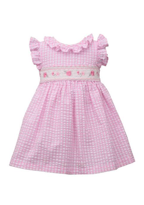 Bonnie Jean Toddler Girls Flutter Sleeve Gingham Smocked