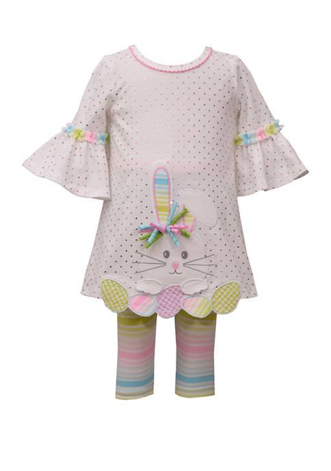 Bonnie Jean Toddler Girls Bunny Stripe Legging Set