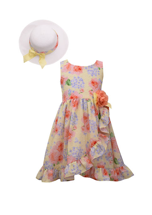 Bonnie Jean Toddler Girls Floral Ruffle Hem Dress