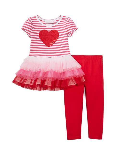 Bonnie Jean Toddler Girls Short Sleeve Valentine Leggings