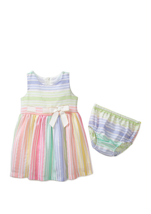 Bonnie Jean Baby Girls Multi Stripe Line Dress