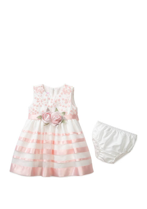 Bonnie Jean Baby Girls Organza Ribbon Dress