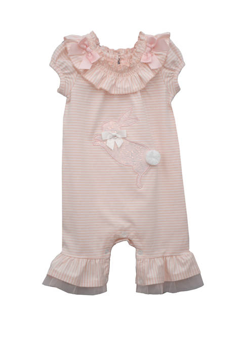 Baby Girls Bunny Knit Coveralls
