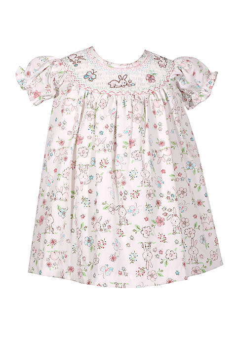 Baby Girls Sarah Smocked Bunny Print Dress