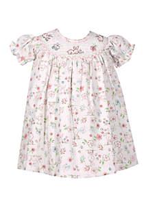 Bonnie Jean Baby Girls Sarah Smocked Bunny Print Dress