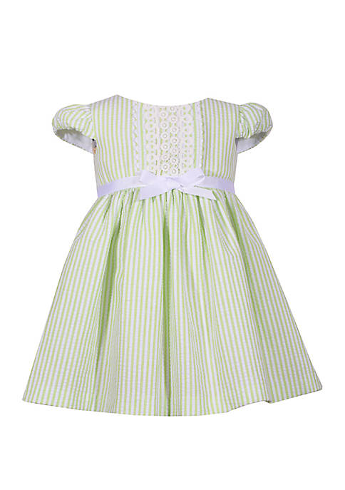 Bonnie Jean Baby Girls Green Seersucker Dress with