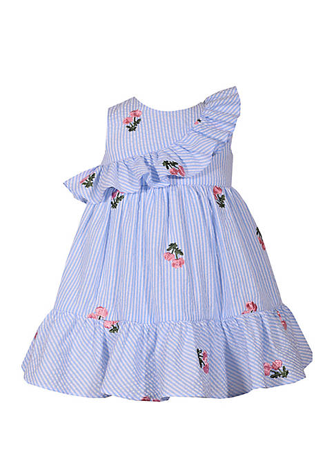 Baby Girls Blue Seersucker Flounce Hem Dress